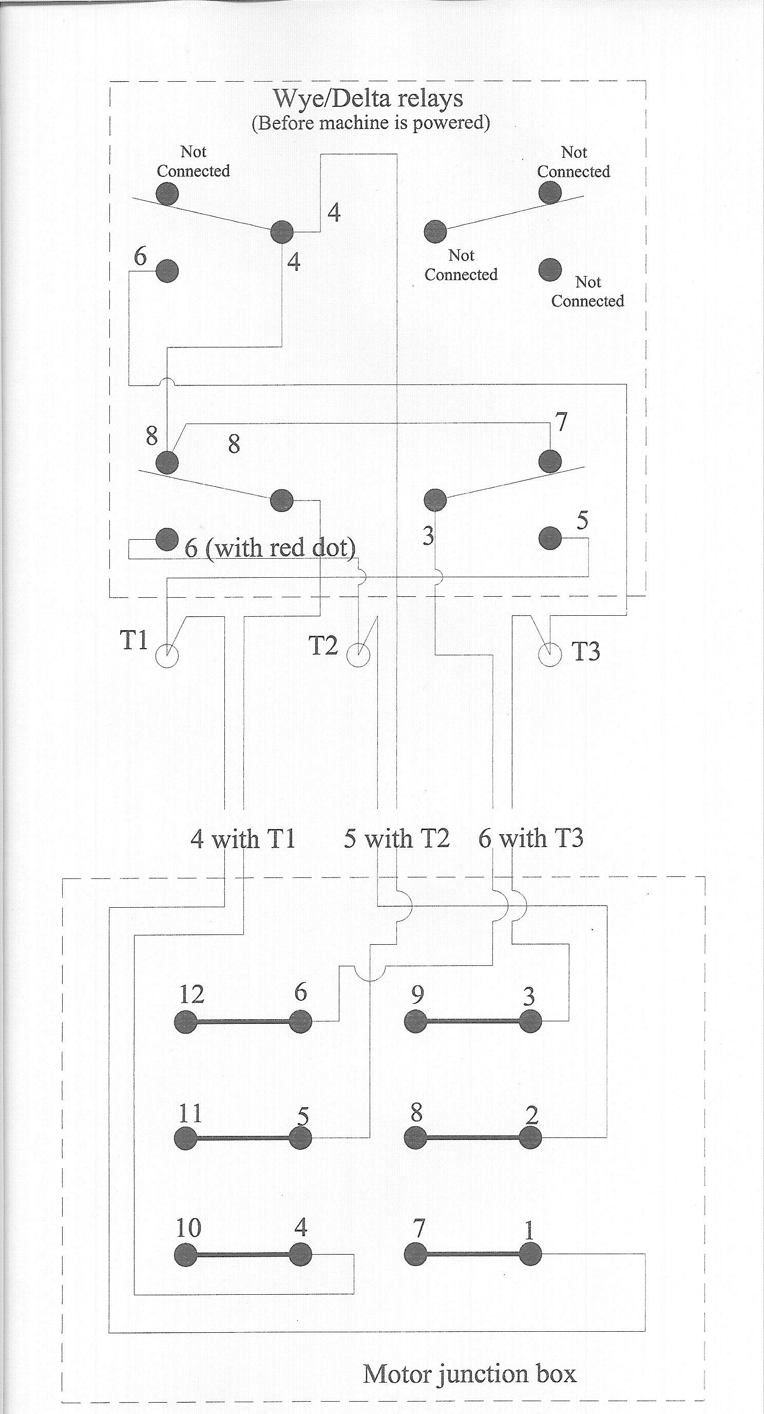 fadal motor problem wye delta relay wiring